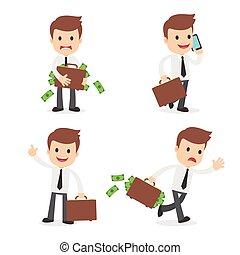 Funny Cartoon Businessman with Briefcase