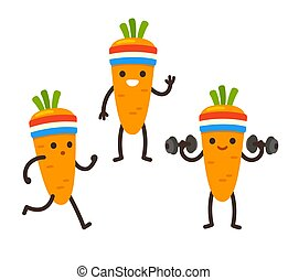 Funny cartoon carrot character