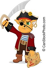 Funny cartoon cat pirate. - Vector illustration of funny ...