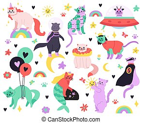 Funny cartoon cats. Kitty mermaid, unicorn, superhero, astronaut and alien characters, colorful cute fairy cats isolated illustration icons set