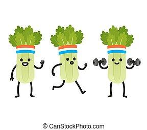 Funny cartoon celery - Funny heath and fitness illustration...