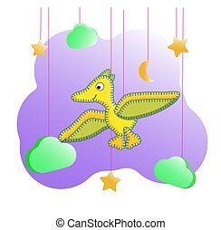 Funny cartoon character dinosaur. Dino flies among the clouds and stars. Yellow pterodactyl for posters in the nursery, print on clothes, cards, wall decor Prehistoric lizard in the style of stitches.