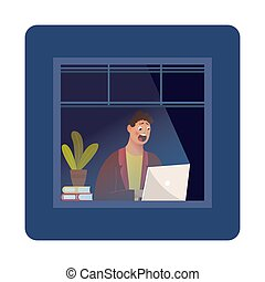 Funny Cartoon Character. Hipster Sitting in the Room and Working with Laptop. Vector. Night owl person flat vector illustration. Man working at home during the night while rest of neighbours are asleep. Night blackout windows with lonely lit up window in the corner. Workaholic concept