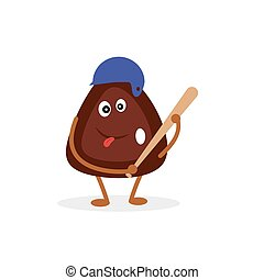 Funny cartoon character made of pine nuts, who plays baseball.