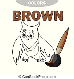 Funny cartoon character owl. Vector isolated coloring book. Contour on a white