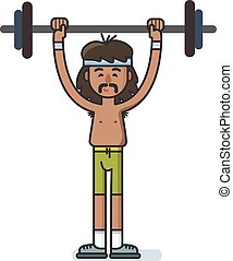 Funny cartoon character sportsman with a barbell.