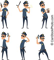 Funny cartoon characters of policemen in action poses