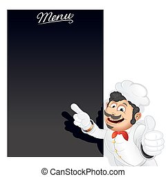 Funny Cartoon Chef with Blank Chalkboard Menu