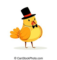 Funny cartoon chick bird in a black top hat and bow tie colorful character vector Illustration