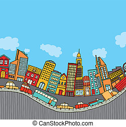 Funny cartoon city with copyspace