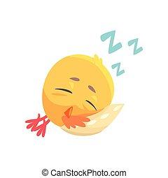 Funny cartoon comic chicken sleeping on a pillow vector Illustration