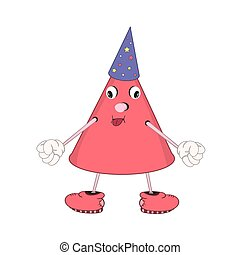 Funny cartoon cone with eyes, arms and legs, showing tongue. On his head a festive hat.