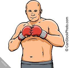 funny cartoon cool MMA fighter illustration - funny cartoon ...