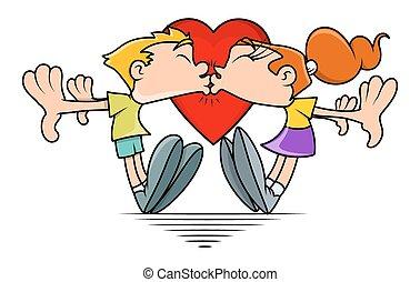 Funny Cartoon Couple Kissing
