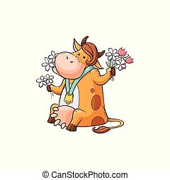 Funny cartoon cow eating flowers, cute female farm animal with bell around neck