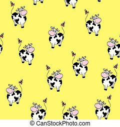 Funny cartoon cow seamless pattern background
