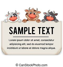 Funny Cartoon Cows with Blank Paper Sign
