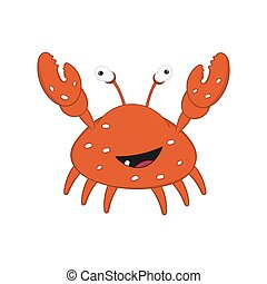 funny cartoon crab with bulging eyes and big claws rejoices.