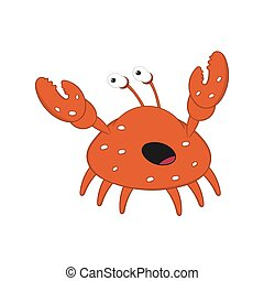 funny cartoon crab with bulging eyes and big claws scared.