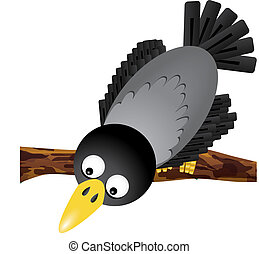 Funny cartoon crow looking down, vector illustration