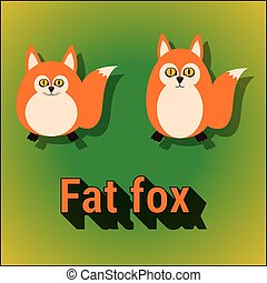 Funny cartoon cute fat fox vector