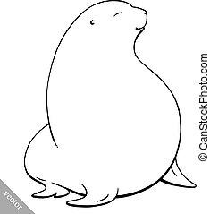 funny cartoon cute fat Navy seal vector illustration