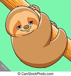 funny cartoon cute fat vector sloth illustration