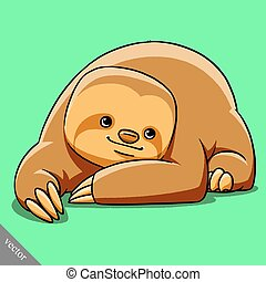 funny cartoon cute fat vector sloth illustration - funny...