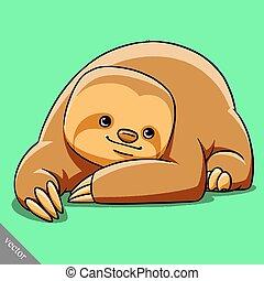 funny cartoon cute fat vector sloth illustration - funny...