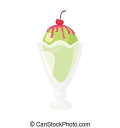 Funny cartoon cute ice cream. Isolated vector illustration. Flat icon. Beautiful sweet ice cream. Flat design. Vector clip art