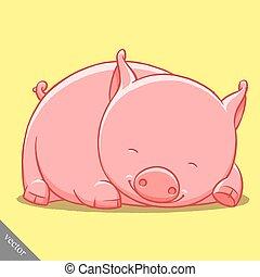 funny cartoon cute vector fat pig illustration - funny...
