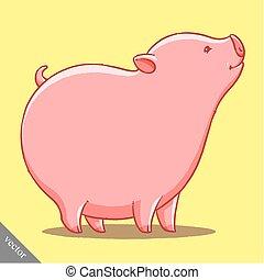funny cartoon cute vector fat pig illustration