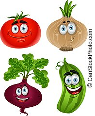 Funny cartoon cute vegetables - tomato, beet, cucumber, onion