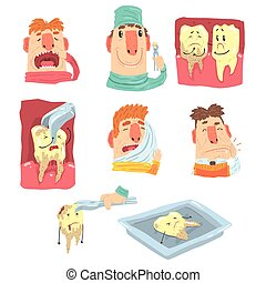 Funny Cartoon Dentist And Patient Illustration Series With...