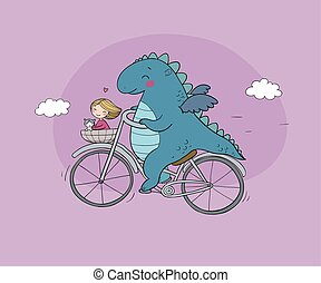 funny cartoon dinosaur on a bicycle. Cute dragon traveler, girl and cat.