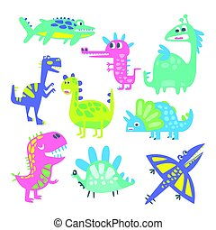 Funny cartoon dinosaurs set. Prehistoric animal characters vector Illustrations