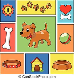 Funny cartoon dog and icons - vector illustration