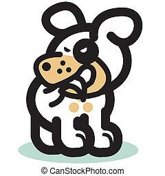 Funny Cartoon Dog Biting His Tail