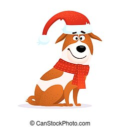 Funny Cartoon Dog. Flat Character. Puppy Of Jack Russell Terrier Isolated  On White Background