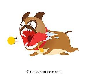 Funny cartoon dog running after tennis ball. Cute puppy vector illustration.