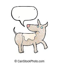 funny cartoon dog with speech bubble