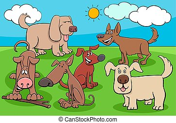 funny cartoon dogs characters group