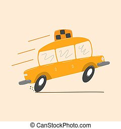 Funny cartoon drawing of taxi on white background