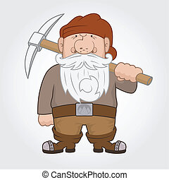 Funny cartoon Dwarf with pick. Vector Illustration