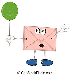 funny cartoon envelope with eyes, legs and hands holding a green balloon and rejoices