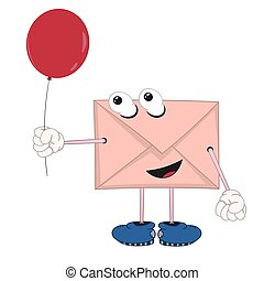 funny cartoon envelope with eyes, legs and hands holding a red balloon and smiling
