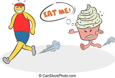 Funny Cartoon evil cake running after the runner and asks ...