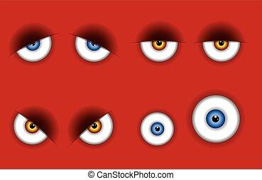 Funny cartoon eyes expressions