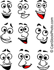 Funny cartoon faces set - Set of funny comic faces in...
