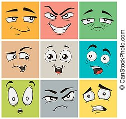 Funny cartoon faces with emotions. Vector clip art illustration.